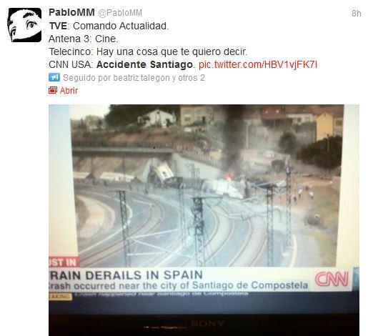Tuit recriminando a TVE la cobertura del accidente de Santiago