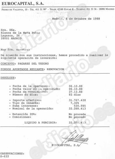 Ingreso en efectivo de 31 millones de pesetas por parte de la mujer de Jesús Posada