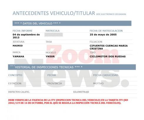Datos requeridos a la DGT sobre el vehículo de Cristina Cifuentes / ZN