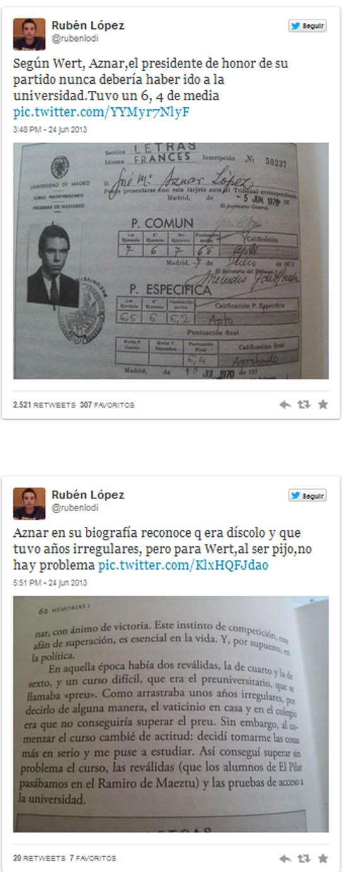 Los tuits alertando de que Aznar no habría superado los criterios actuales del PP