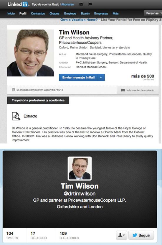 Perfiles de Tim Wilson en Twitter y Linkedin