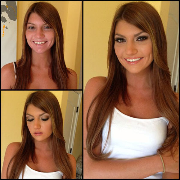 Estrellas porno antes y después del cambio de imagen de maquillaje