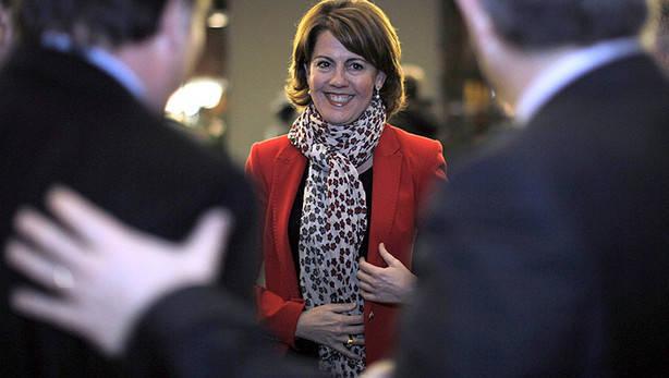 Yolanda Barcina, sonriente, durante un acto celebrado ayer en Pamplona.